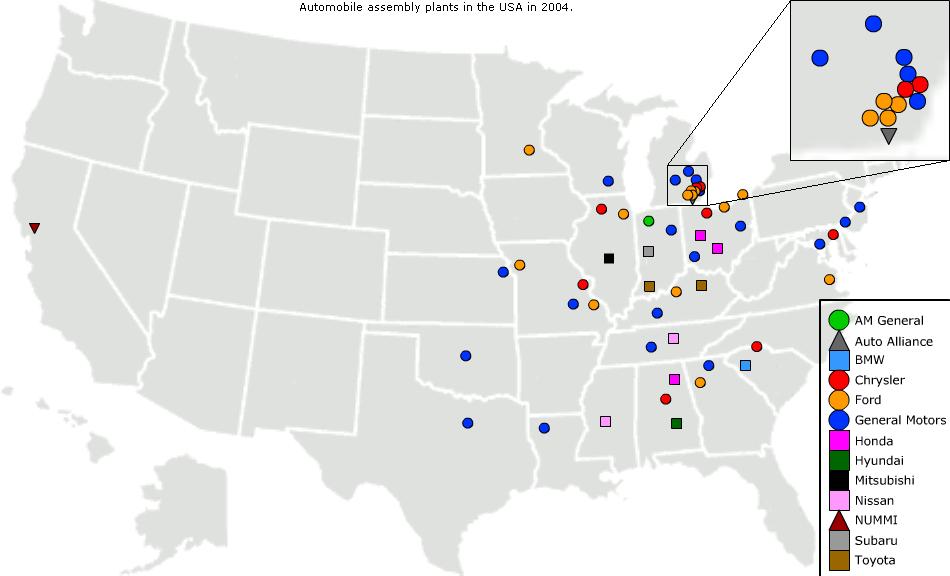 Carte des usines d'assemblage automobile (2004) - Wikipédia  Comment s'implanter aux États-Unis